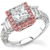 14k White Gold Diamond Halo Three Stone Semi Mount