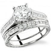 18k White Gold Princess Cut Engagement Ring Set