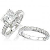 14k White Gold Diamond Pave Ladies Bridal Set