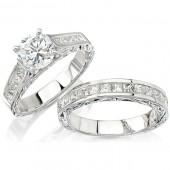 14k White Gold Princess Cut Wedding Engagement Ring Set
