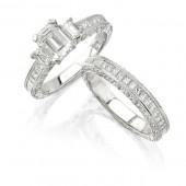 14k White Gold Vintage Three Stone Diamond Bridal Set