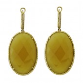 Yellow Agate and Diamond Earrings