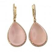 Rose Quartz & Diamond Drop Earrings