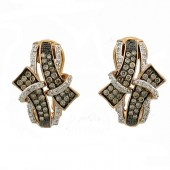 Toffee Brown & White Diamond Earrings