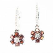 Garnet & Diamond Drop Earrings