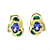Gilson Opal, Tanzanite & Diamond Earrings