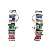 Ruby, Emerald, Sapphire and Diamond Earrings