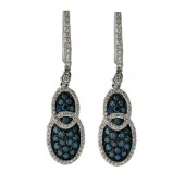 Blue and White Diamond Earrings
