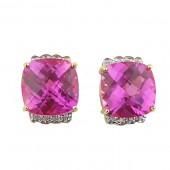 Pink Topaz & Diamond Earrings