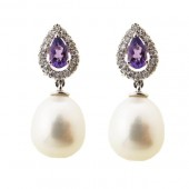 Pearl, Amethyst & Diamond Earrings