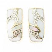 Pink Mother of Pearl & Diamond Earrings
