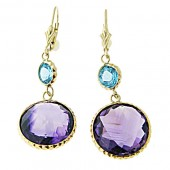 Amethyst & Blue Topaz Earrings