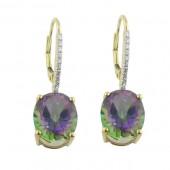 Rainbow Topaz & Diamond Earrings