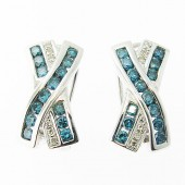 Blue & White Diamond Earrings