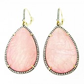 Rose Quartz & Diamond Drop Earrings