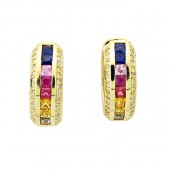 Multi colored Sapphire & Diamond Earrings