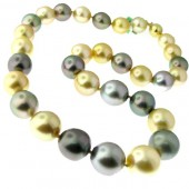 Golden, Grey & Black Pearl Necklace