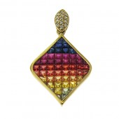 Multi Colored Sapphire and Diamond Pendant