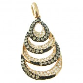 Toffee Brown and White Diamond Pendant