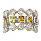 Multi-colored Sapphire & Diamond Ring
