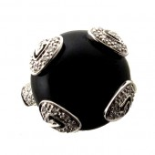 Black Onyx & Diamond Ring