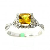 Yellow Emerald & Diamond Ring