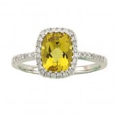 Yellow Beryl & Diamond Ring