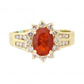 Fire Opal & Diamond Ring