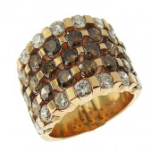 Toffee Brown and White Diamond  Ring