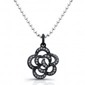 Black Sterling Silver Diamond Flower Pendant