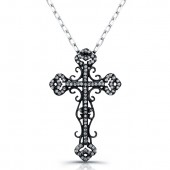 Black Sterling Silver Vintage Diamond Cross Pendant