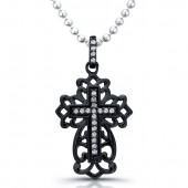 Black Sterling Silver Antique Diamond Cross Pendant