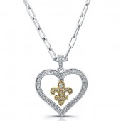 14k Yellow Gold and Sterling Silver Heart Pendant with Fleur de Lys