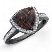 Black Sterling Silver Smokey Quartz Diamond Halo Ring
