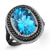 Black and White Sterling Silver Blue Topaz Diamond Split Shank Ring