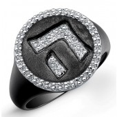 Black Sterling Silver Diamond Hebrew Alphabet Ring