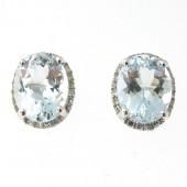 Aquamarine & Diamond Studs