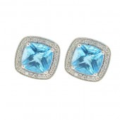 Blue Topaz with Diamonds Stud