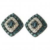 Kite shape Blue and White Diamond studs