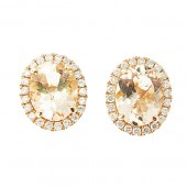 Morganite & Diamond Studs