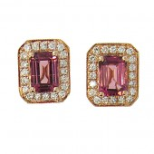 Pink Tourmaline and Diamond Studs