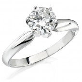 14k White Gold 1 Ct. Solitaire Diamond Ring