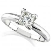 14k White Gold 3/4 Ct. Solitaire Princess Cut Diamond Ring