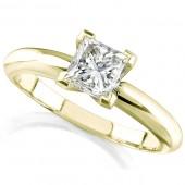 14k Yellow Gold 1/4 Ct. Solitaire Princess Cut Diamond Ring